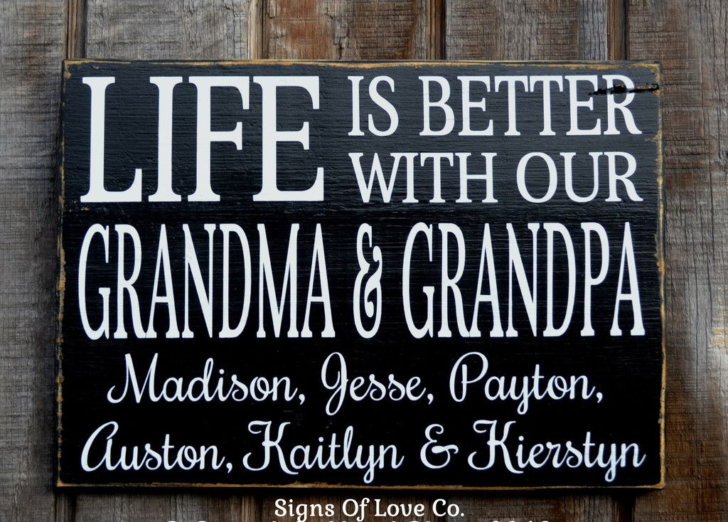 Personalized Life Is Better With Our Grandma Grandpa Kids Children Names  Family Name Sign Grandparents Gift Mother s Day Gifts Grandkids Grandma  Grandpa ... fcdf8bdb1