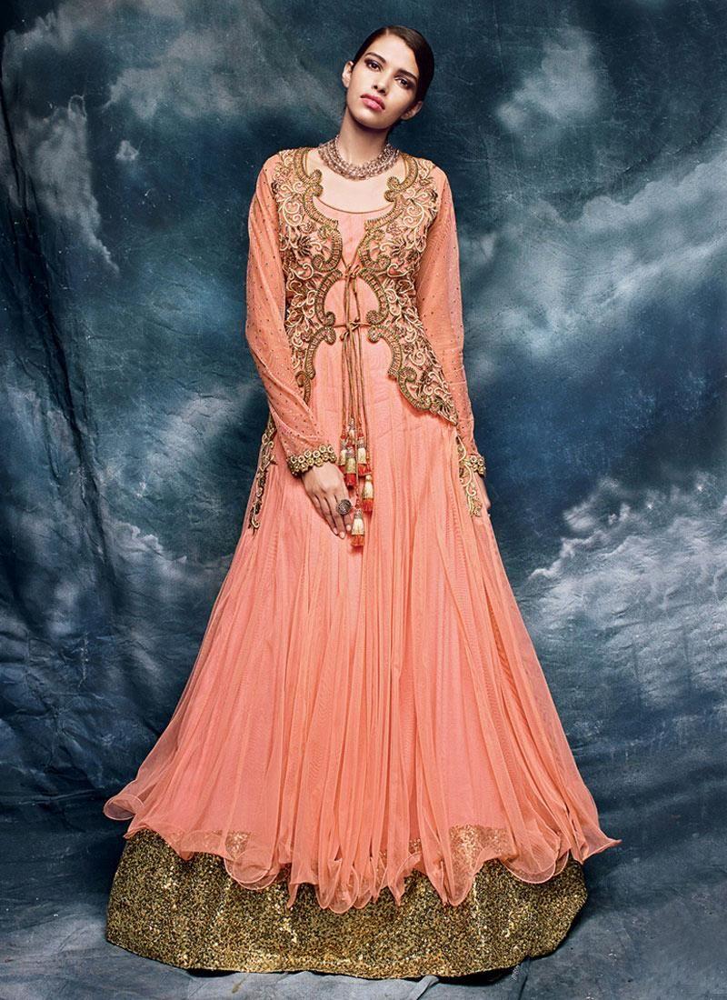 Designer salwar kameez mesmeric peach color net designer suit - Buy Latest Salwar Kameez Designs And Designer Salwar Suits Online Grab This Net Embroidered And
