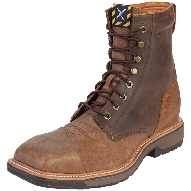 Twisted X Distressed Shoulder Lace Up Steel Toe Work Boots | Style ...