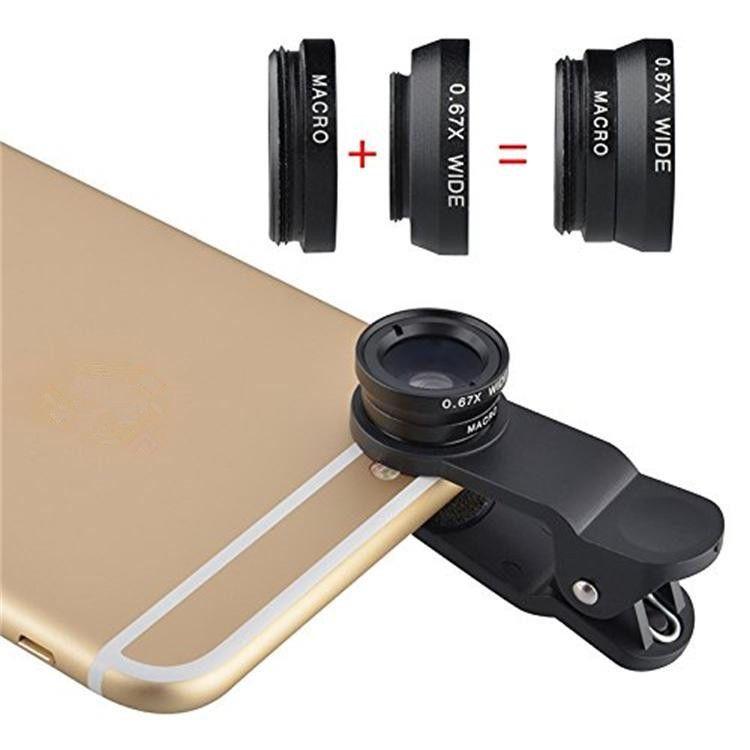 2 19 Aud Black 3in1 Fisheye Wide Angle Macro Lens Kit For Apple