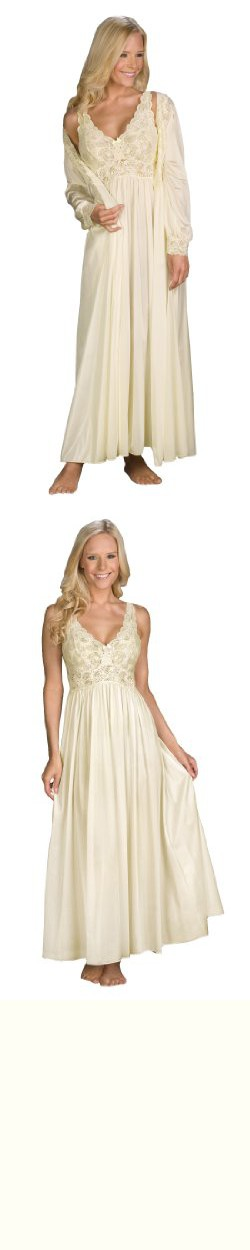Shadowline Silhouette Gown and Peignoir Set (51737), Ivory, L ...