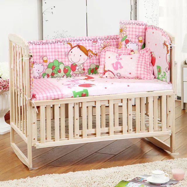 5pcs Baby Crib Bedding Set Kids Bedding Set 100x58cm Newborn Baby Bed Set Baby Crib Bedding Sets Baby Cot Sets Baby Bedding Sets