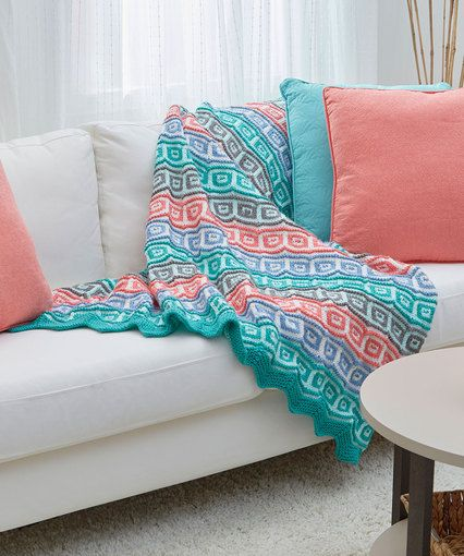 Mosaic Squares Throw | knitted afghans and pillows | Pinterest