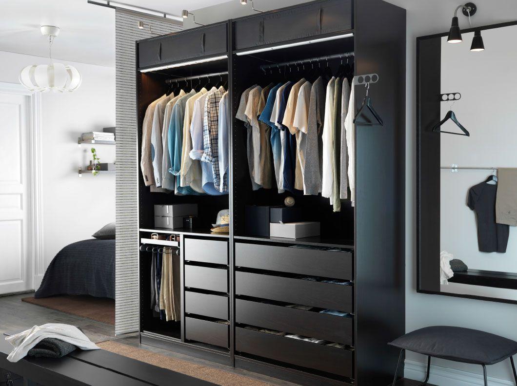 ein modernes schlafzimmer mit einem offenen pax kleiderschrank in schwarzbraun striberg led lichtleisten in - Schlafzimmer Mit Ikea Ei