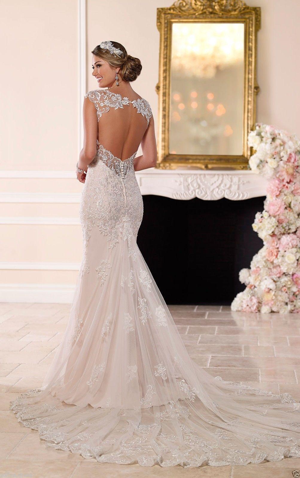 Nice new backless mermaid wedding dress bridal gown custom size
