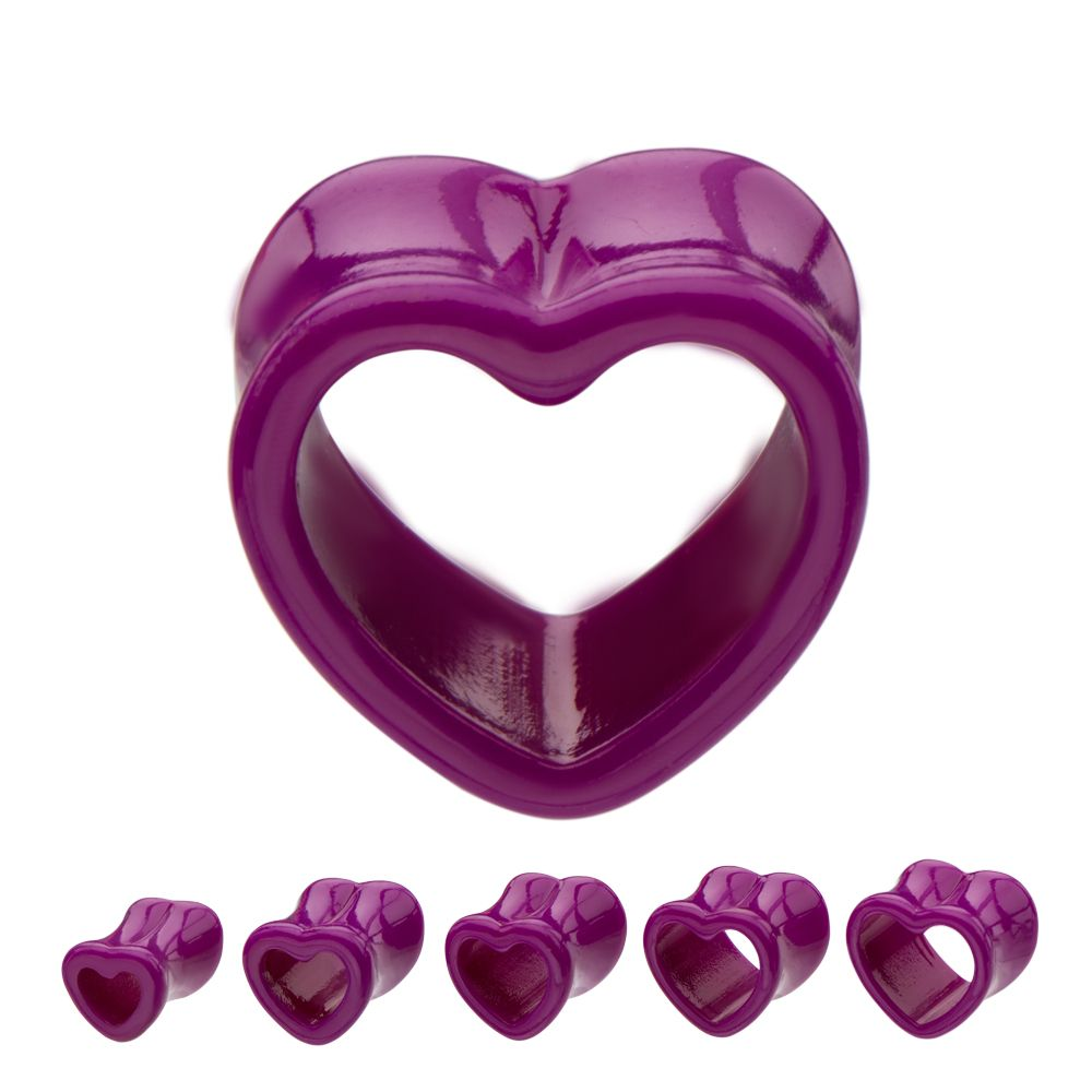 Hollow #heart shaped purple #acrylic #tunnel. Double flared tunnel with an 8mm wearable area. Sold as a pair #BodyVibe #piercing #jewelry #plugs #jeweltweets