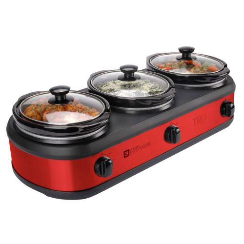 Tru Three Crock Pot Slow Cooker Electric Triple Buffet Server Food Warmer Tray
