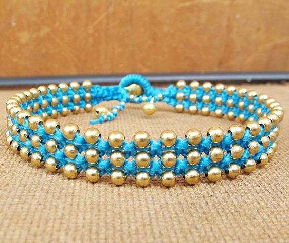 Blue Wax Cord Braided Ankle Bracelet With Br Bead