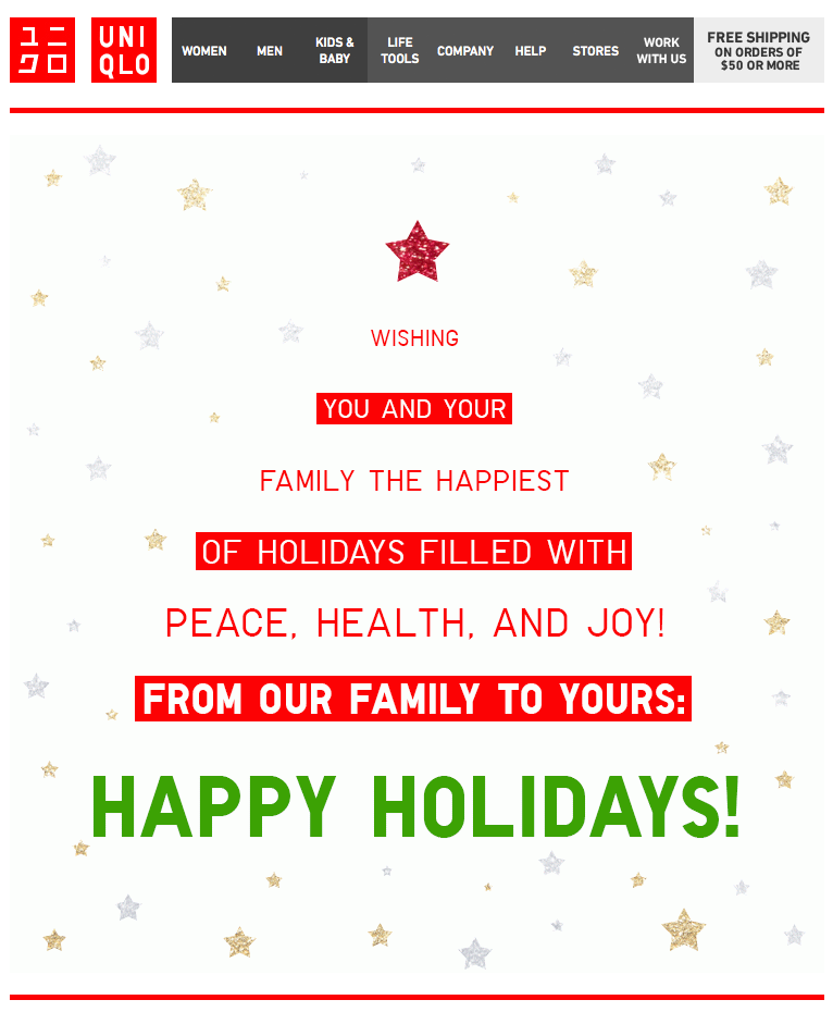Uniqlo  Holiday Letter  Email Design  Inspiration