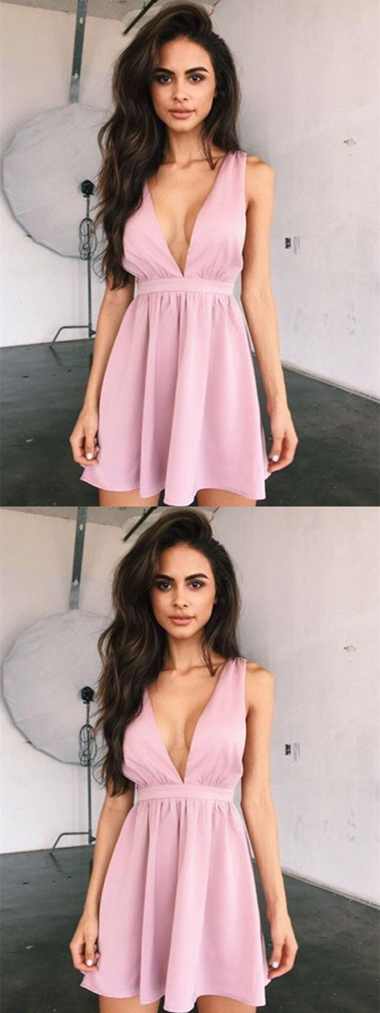 A line v neck short prom dress short homecoming dress graduation