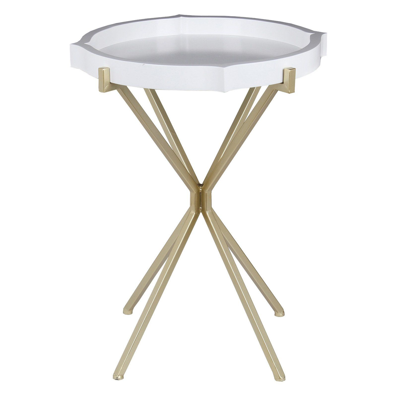 - Privilege International Accent Table - Glossy White White Accent