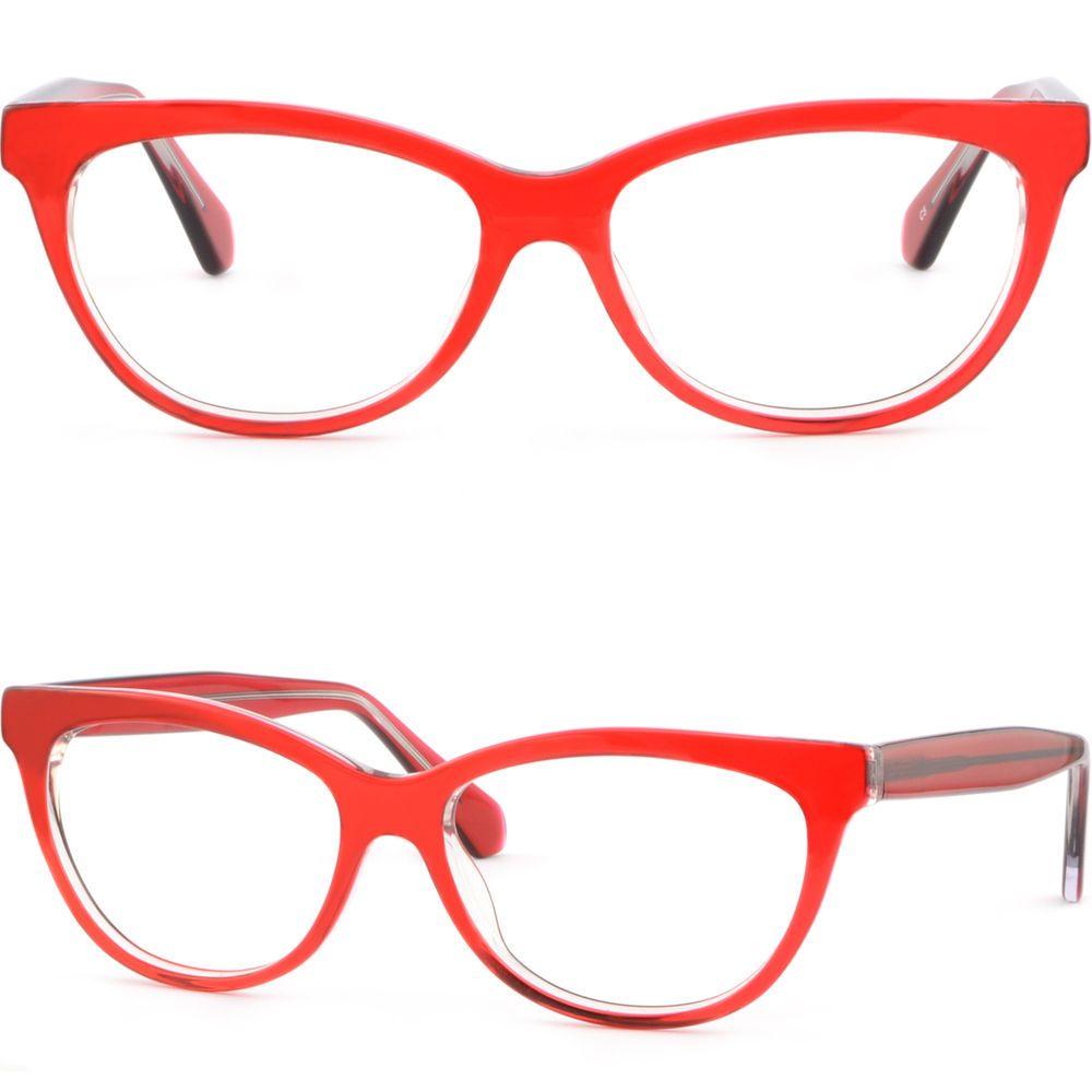 84c5d42c13c Cateye Womens Acetate Plastic Frame Spring Hinge Prescription Glasses Lenses  Red  Unbranded