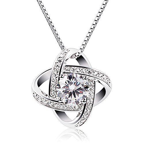 B.Catcher Women Necklaces Sterling Silver Cubic Zirconia Pendant Gemini  Necklace--17.5 78a872076c