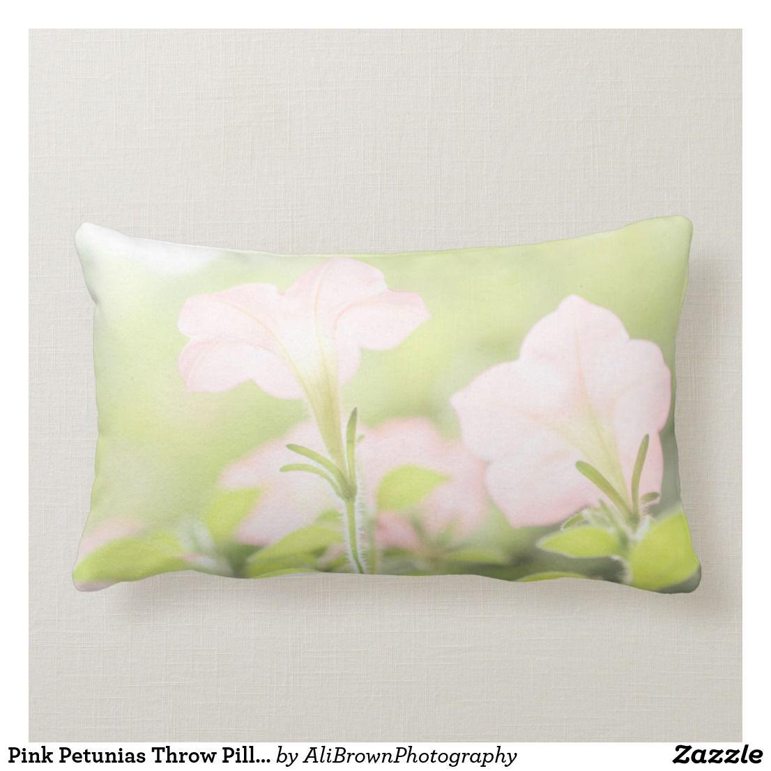Pink Petunias Throw Pillow Floral Home Decor Lumbar Pillow Zazzle Com Throw Pillows Pillows Floral Pillows