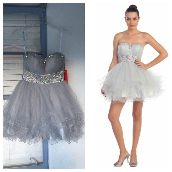 NWT Star Box Silver Rhinestone Studded Prom Dress | Silver ...
