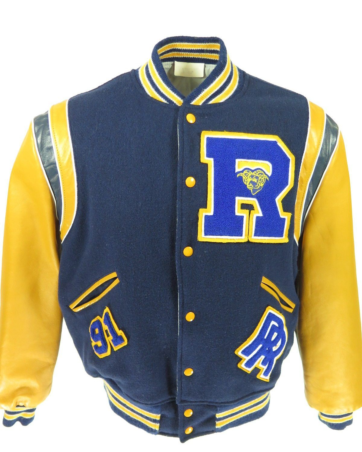 Vintage 90s Varsity Letterman Rams Jacket Mens 44 Leather