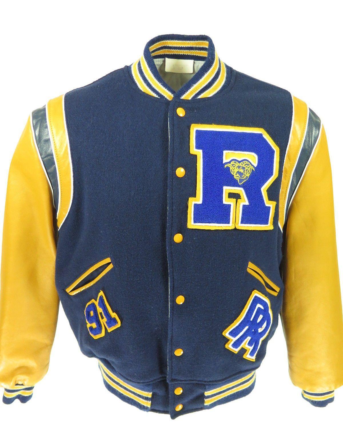 Vintage 90s Varsity Letterman Rams Jacket Mens 44 Leather