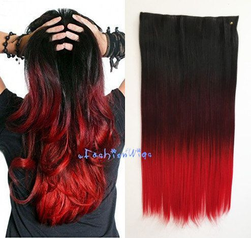 Black To Burgundy To Red Three Colors Ombre Hair Extension Synthetic Hair Extensions Uf208 Affordable Hair Extensions Ombre Hair Ombre Hair Extensions