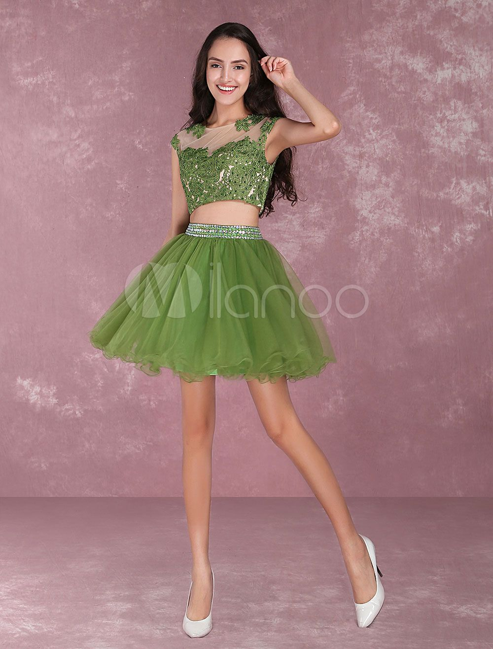 Tulle prom dresses lace applique beading homecoming dresses piece