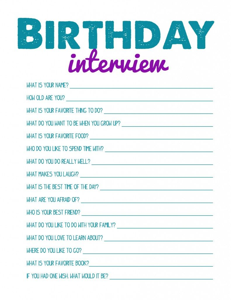 Printable Birthday Interview   For Every Birthday! Best Activities For Kids