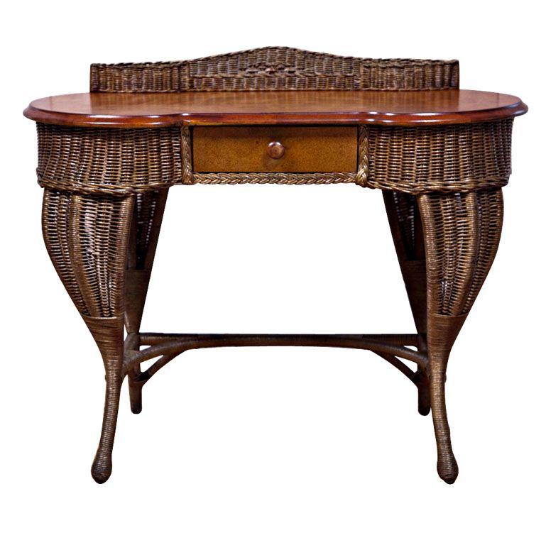 Antique Art Deco Wicker Desk | From a unique collection of antique and  modern desks and - Antique Art Deco Wicker Desk