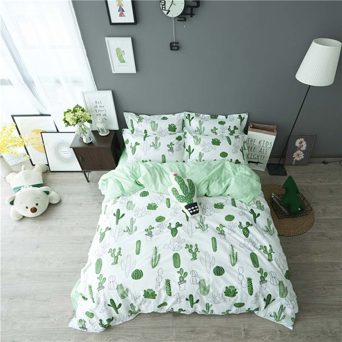 Amazon.com: HIGOGOGO Home Textiles 100% Cotton Cactus Pattern Duvet Cover  Set For Family Cotton Bedding Set 4 Pieces Sheet Set Twin Full Queen Size  Fitted ...
