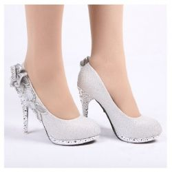 New Arrival Dazzling and Attractive Style Rhinestone and Flower Embellished High-Heeled Wedding Shoes