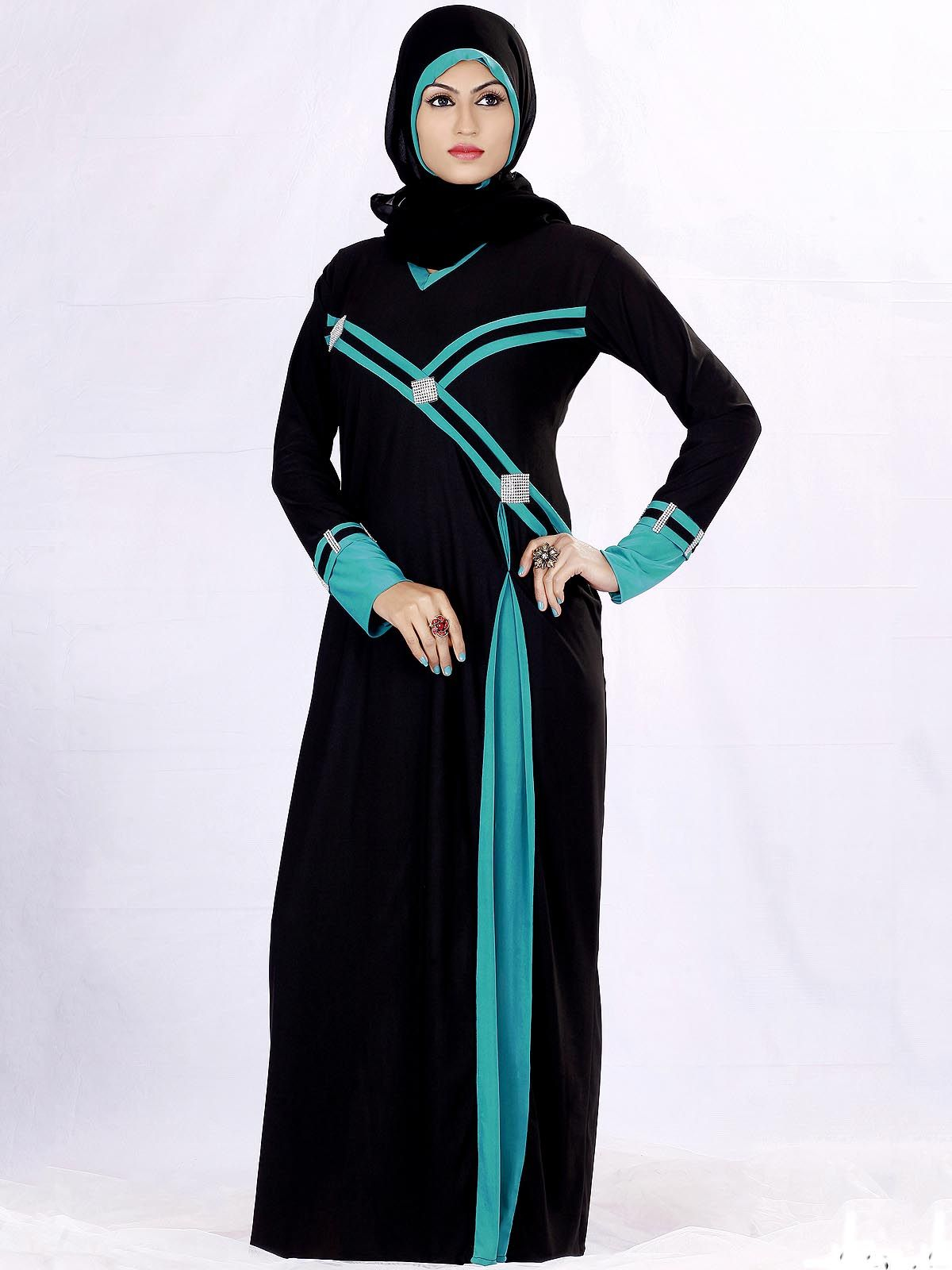 Solid Black And Turquoise Embellished Cly Luxurious Abaya Burka With Hijab Hijabfashion Hijabstyle