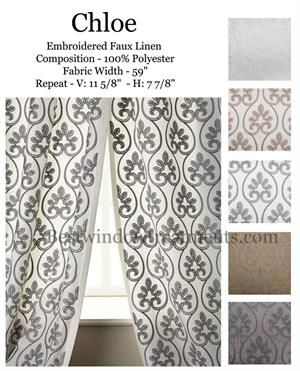 chloe sheer linen curtains embroidered scroll style standard size curtains or extra long drapes