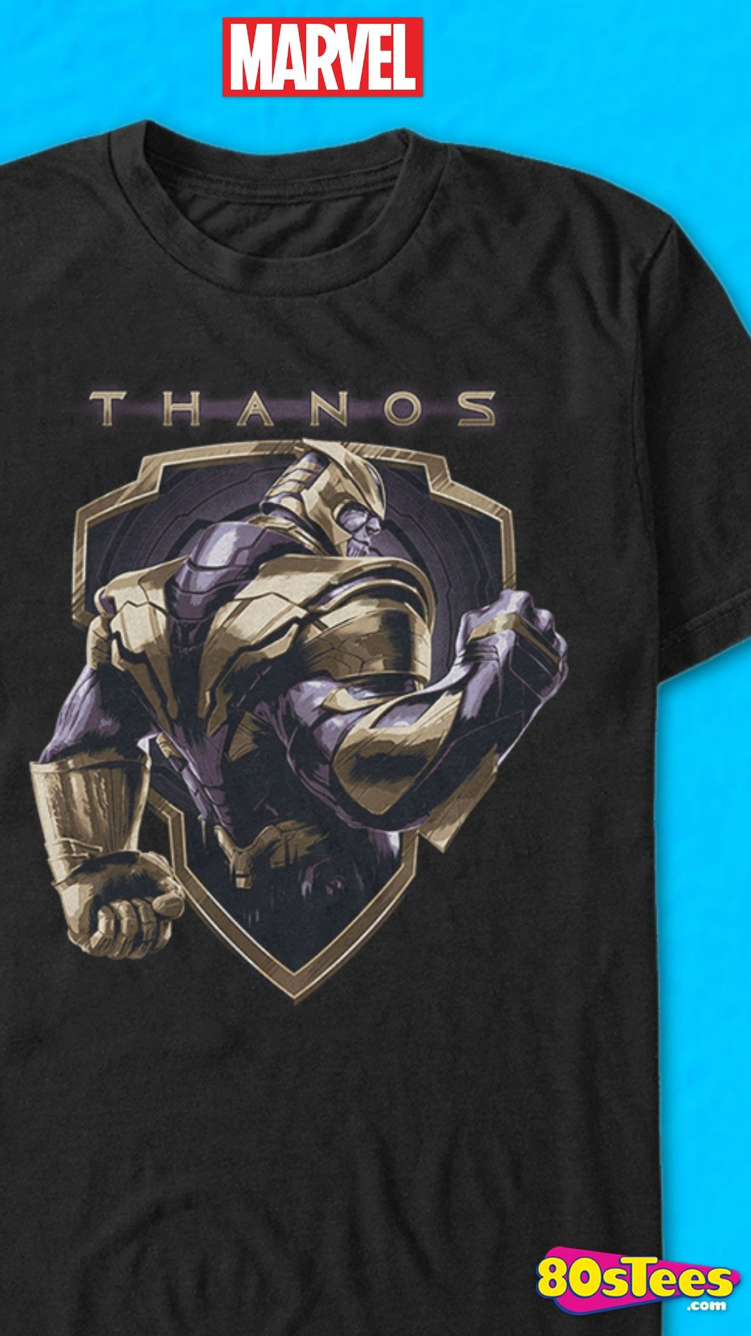 78511e78 This Avengers: Endgame t-shirt features an image of the mad titan Thanos.