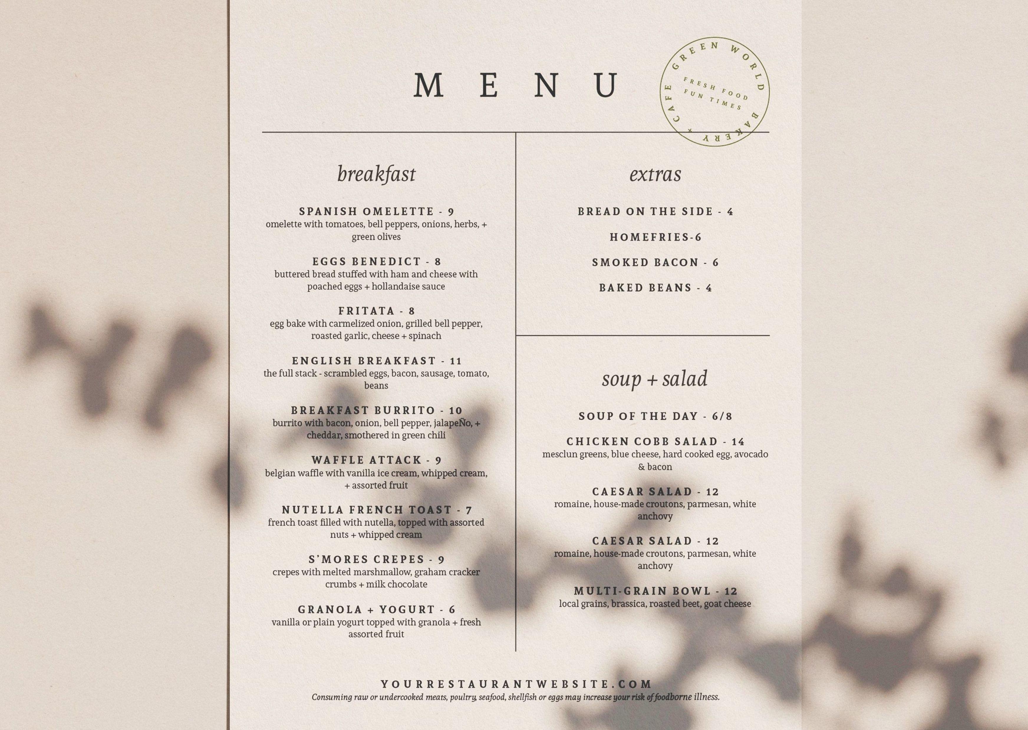Restaurant Menu Design Minimal Cafe Menu Design Trendy Food Etsy Cafe Menu Design Menu Design Restaurant Menu Design