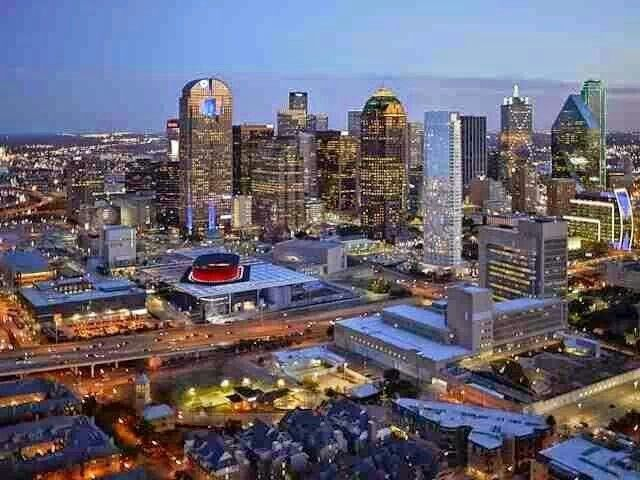 Aerial View Of Downtown Dallas Dallas Texas Olive