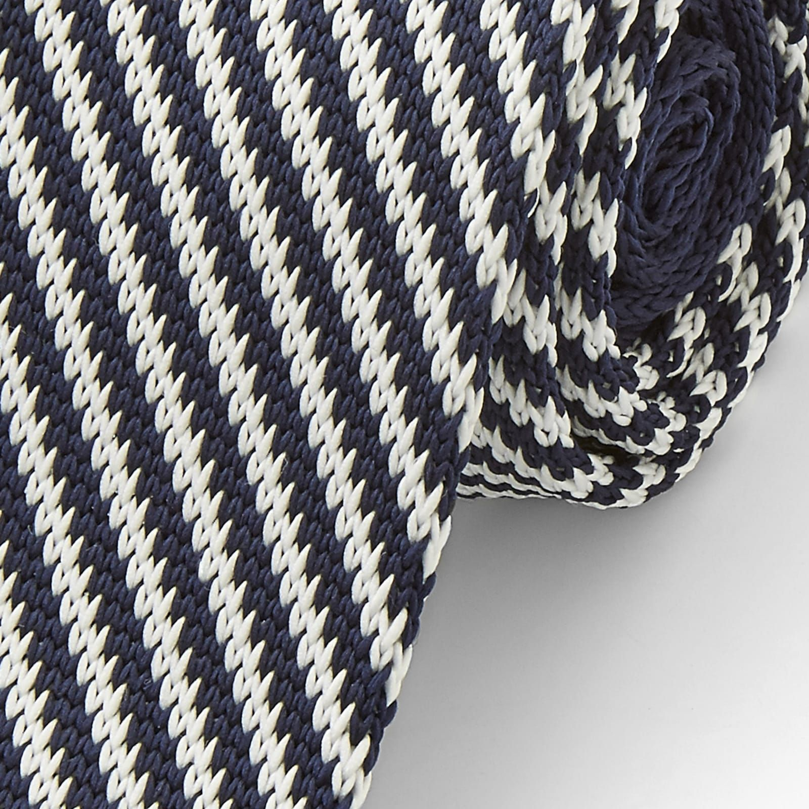 Photo of White & Blue Stripe Knitted Tie | In stock! | Tailor Toki