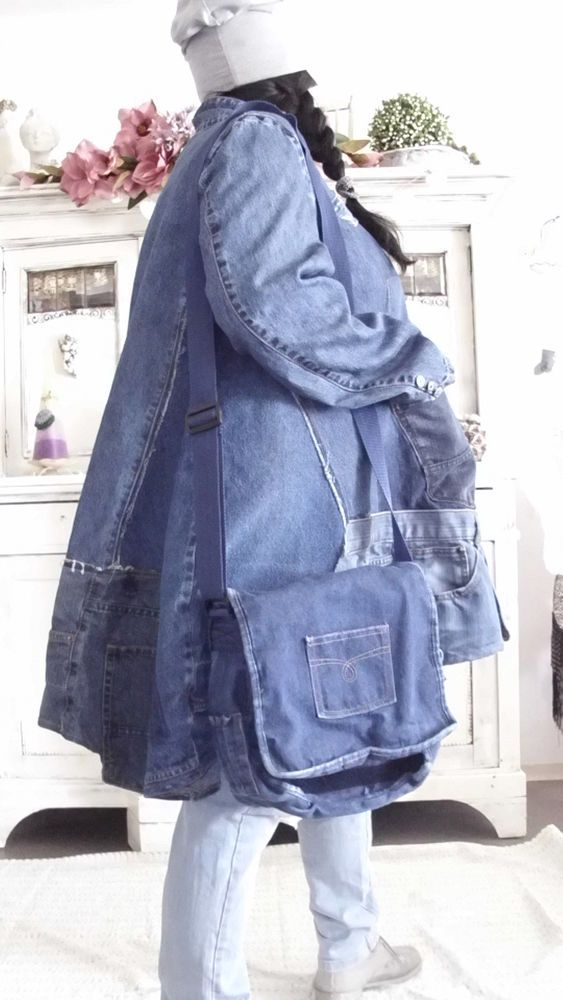 tasche jeans hippie upcycling lagenlook patwork bag