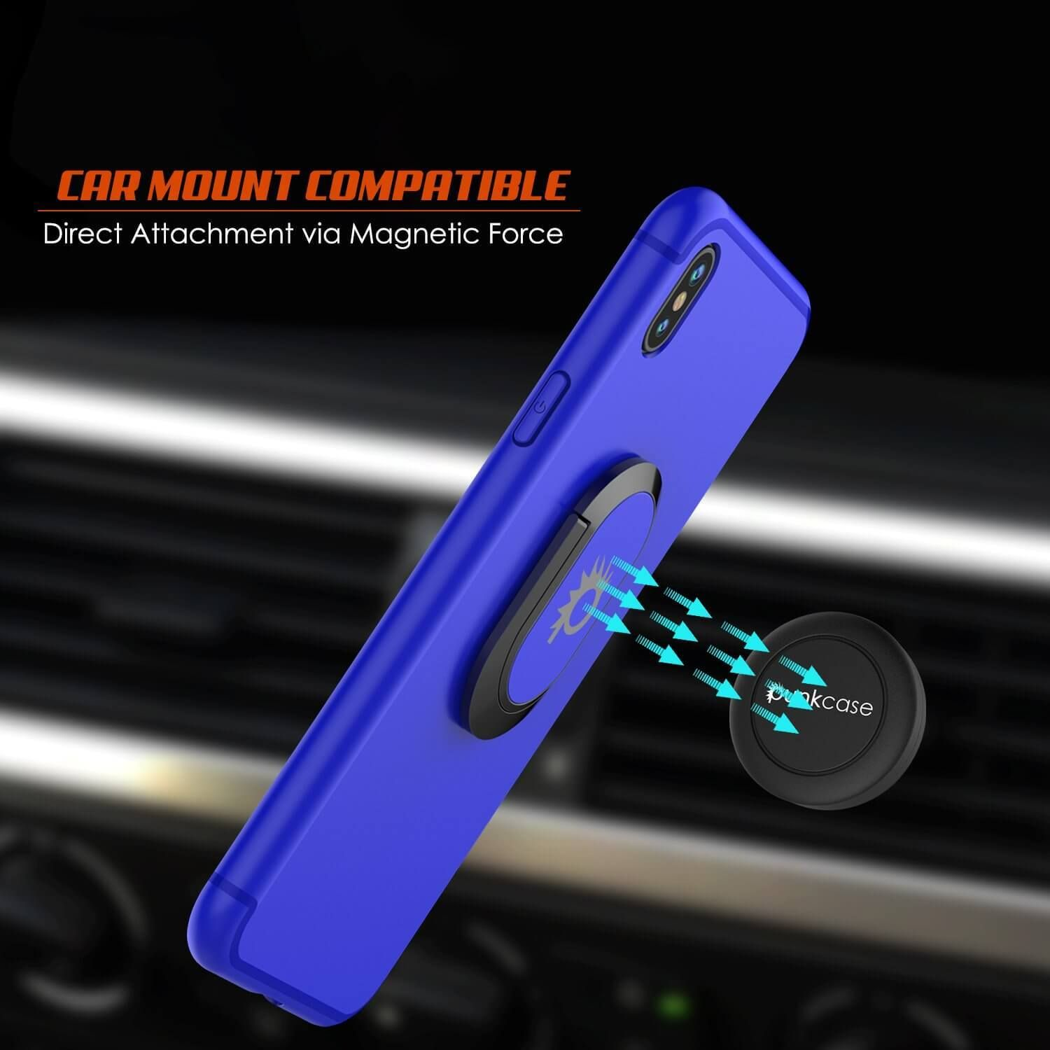 Ring Grip Holder /& Metal Plate for Magnetic Car Phone Mount Plus PunkShield Screen Protector for Samsung S8 Edge Blue Punkcase Magnetix Protective TPU Cover W//Kickstand Galaxy S8 Case