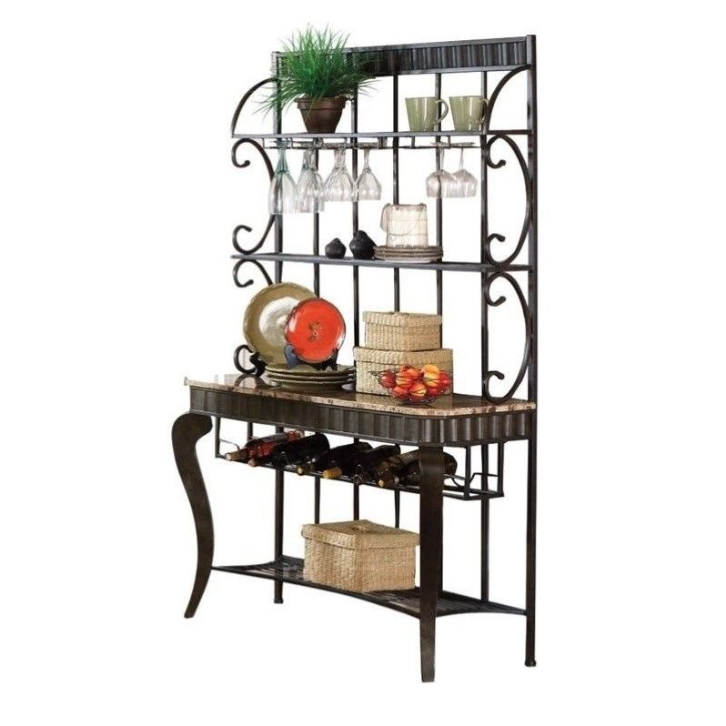 Steve Silver Company Hamlyn Marble Top Bakers Rack With Images
