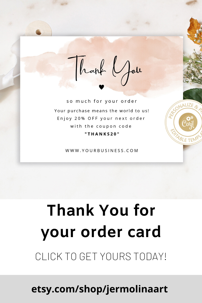 Thank You For Your Order Card Template For Small Business Corjl Printable Editable Instant Download Etsy Packaging Thank You Card Design Packaging Ideas Business