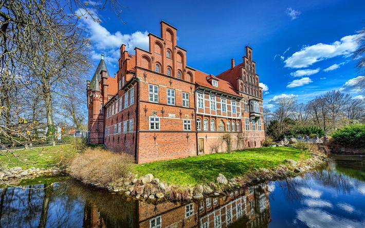 壁紙をダウンロードする Bergedorf城, 4k, ハンブルク, ドイツのランドマーク, ドイツ, 欧州