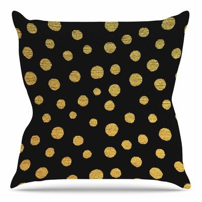 "East Urban Home Golden Dots by Nika Martinez 16"" Throw Pillow"