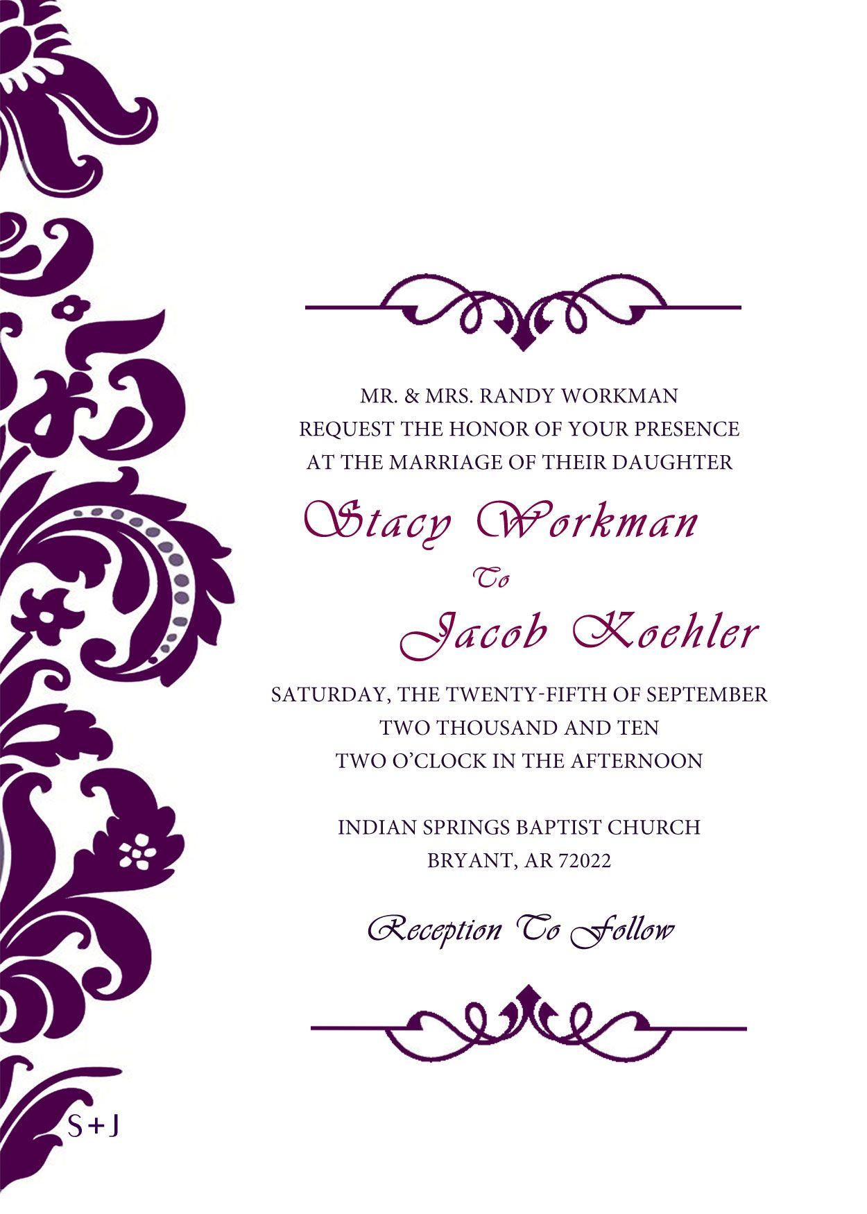 Purple Wedding Invitation Templates Clipart | Arts & Crafts ...