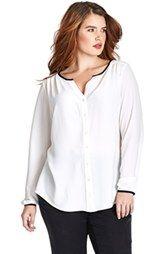 Mynt1792 Contrast Trim Pleat Shoulder Georgette Blouse (Plus Size)
