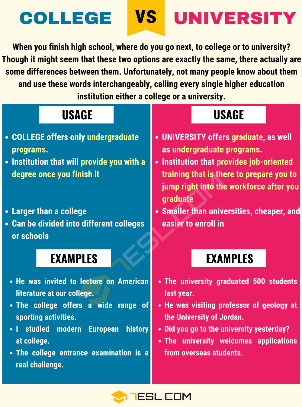 College Vs University Useful Differences Between College And
