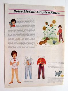 Vintage Betsy McCall Adopts a Kitten paper dolls page September 1963 uncut | eBay