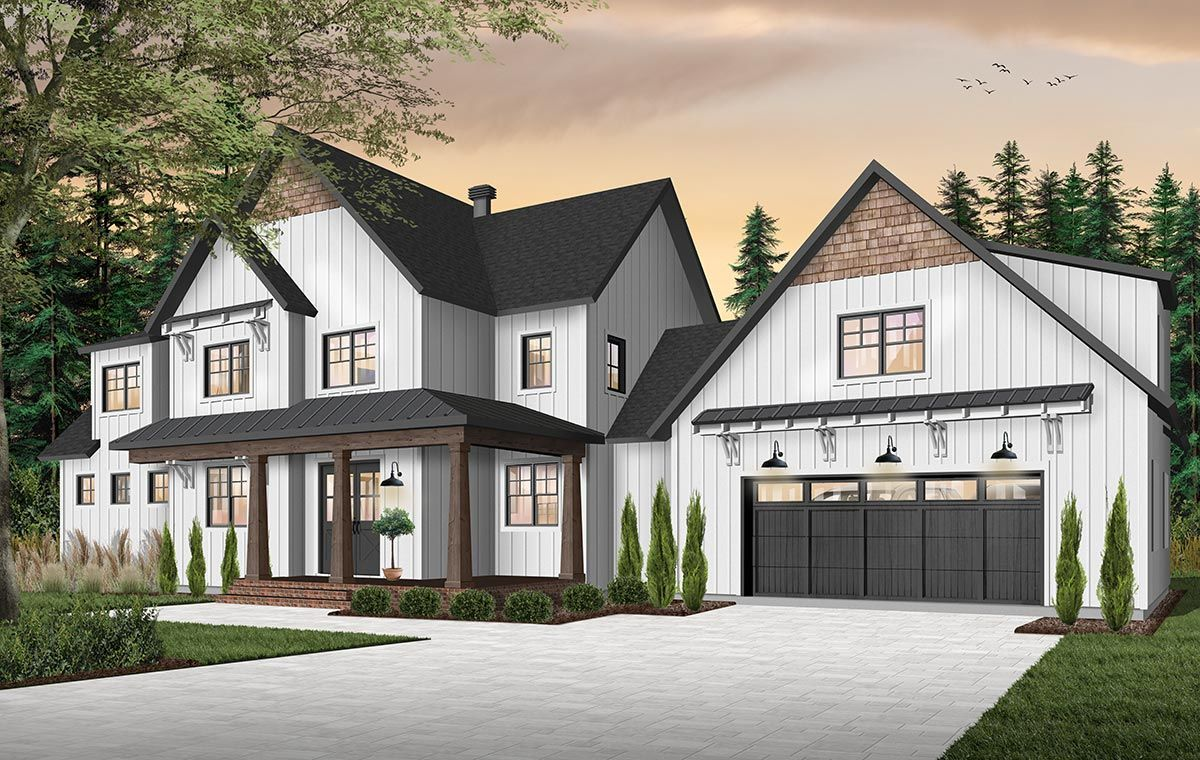 Plan 22533DR: 4-Bed Farmhouse Plan With Outdoor Living