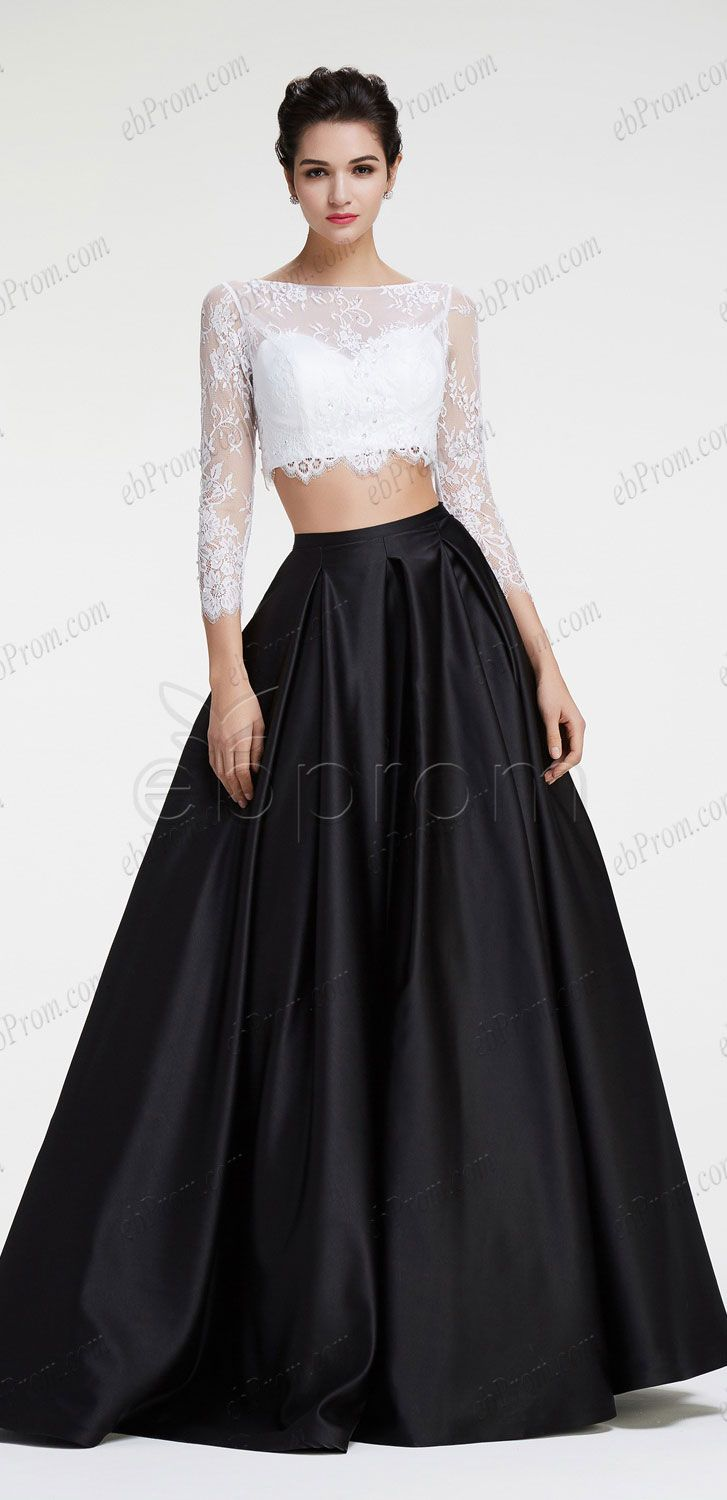 Black and white ball gown two piece prom dresses long sleeves