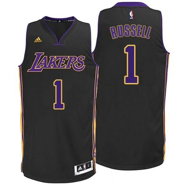 648acf50c5b05 Lakers #1 D'Angelo Russell Hollywood Nights Black Jersey ...