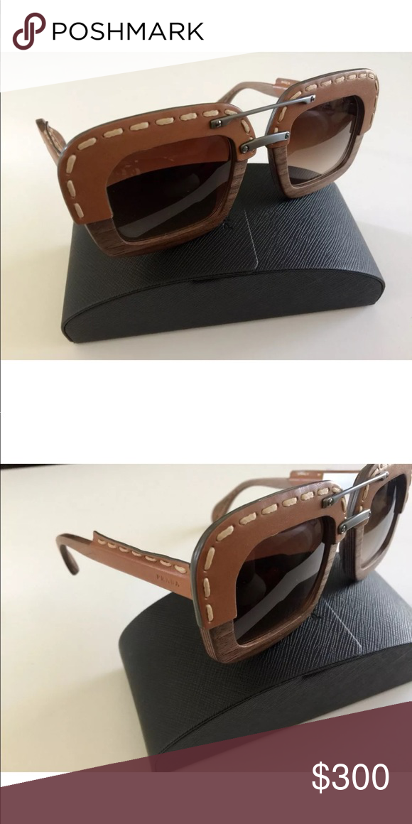567a5775d1aa ... good prada raw sunglasses wood brown square leather unique and classy prada  wooden sunglasses. come