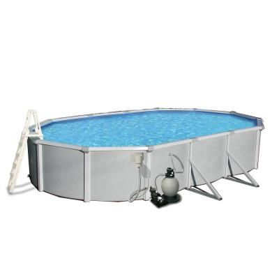 Blue Wave Samoan 15 Ft X 30 Ft Oval X 52 In Deep Metal Wall Above Ground Pool Package With 8 In Top Rail Nb3449 The Home Depot Above Ground Pool