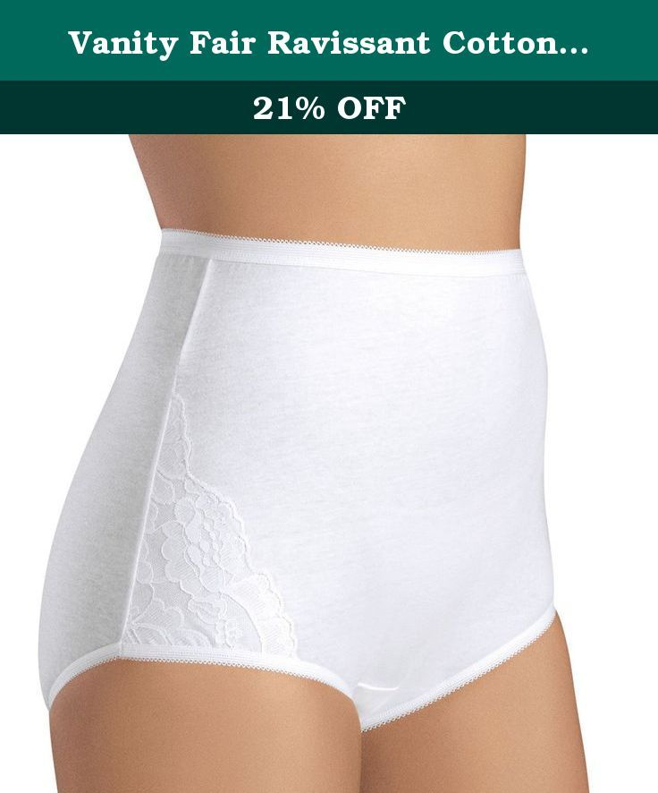 fb1603338104 Vanity Fair Ravissant Cotton Brief Panty (15321) 7/Star White. Classic full brief  panty with lace details, Modest rise and cotton panel. 100% cotton, .