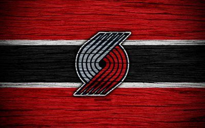 4k, Portland Trail Blazers, NBA, wooden texture, basketball, Western Conference, USA, emblem, basketball club, Portland Trail Blazers logo